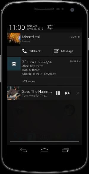 Уведомления в Android 4.1 Jelly Bean