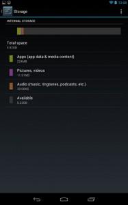 Объем памяти планшета Google Nexus 7